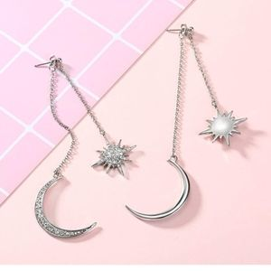 White Gold Color Shiny Moon and Stars Drop Earring
